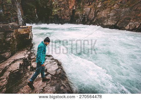 Man Traveling In River Canyon Adventure Lifestyle Extreme Vacations Outdoor Wilderness Nature