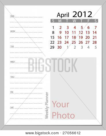 Simple 2012 calendar, April.  All elements are layered separately in vector file. Easy editable.
