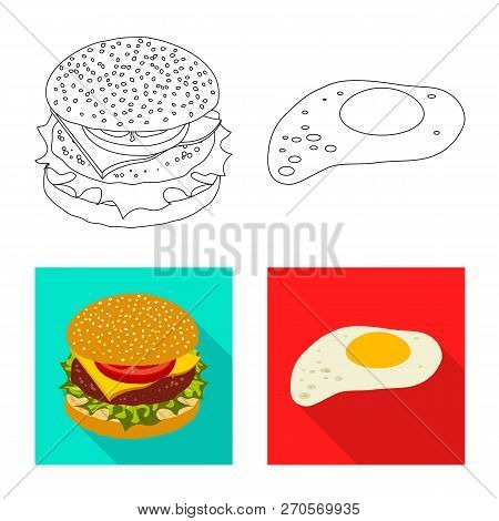 Isolated Object Of Burger And Sandwich Icon. Set Of Burger And Slice Stock Vector Illustration.