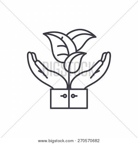 Flora Support Line Icon Concept. Flora Support Vector Linear Illustration, Symbol, Sign