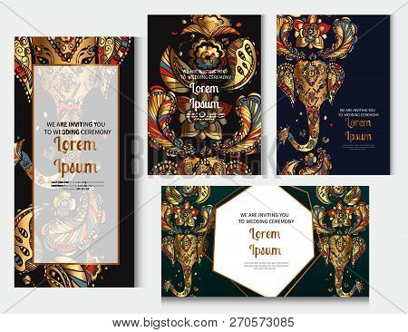 Gold Indian Doodles. Golden Indian Ornament. Vector Illustration For Banners Invitation Poster And W