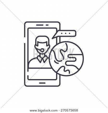 Global Communication Line Icon Concept. Global Communication Vector Linear Illustration, Symbol, Sig