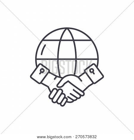 Global Partnership Line Icon Concept. Global Partnership Vector Linear Illustration, Symbol, Sign