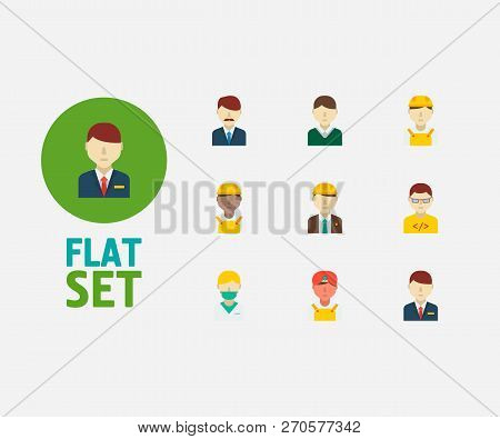 Professional Icons Set. Indian Worker And Professional Icons With Male Worker, Engineer And Nurse. S