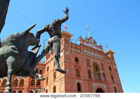 Madrid bullring Las Ventas Plaza Monumental with toreador statue