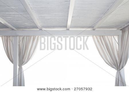 Beach gazebo isolated on white with curtain [ photo-illustration]