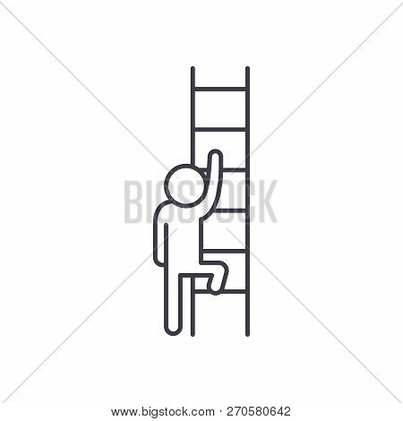 Ladder Of Opportunity Line Icon Concept. Ladder Of Opportunity Vector Linear Illustration, Symbol, S
