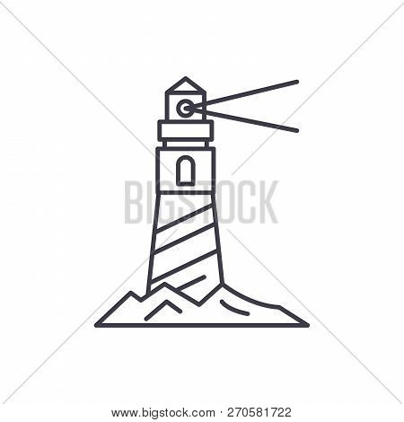 Lighthouse On The Shore Line Icon Concept. Lighthouse On The Shore Vector Linear Illustration, Symbo