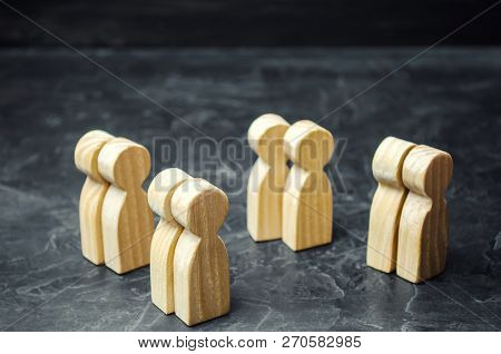 Groups Of Wooden People. The Concept Of Market Segmentation. Marketing Segmentation, Target Audience