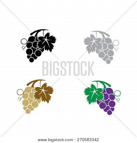 Grapes  Vector Icon On White Background. Grapes Icon In Modern Design Style. Popular Grapes Bunch Ve