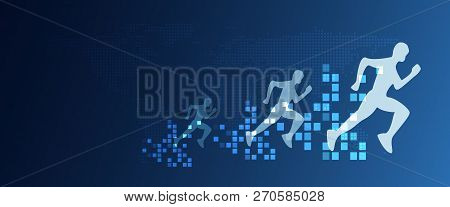 Digital Transformation Abstract Running People With Speed Increasing From Pixels. Business And Techn