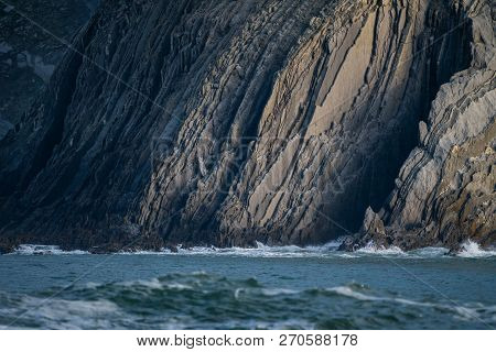 Detail Of The Coast Cliffs And Strata Layers In Bizkaia