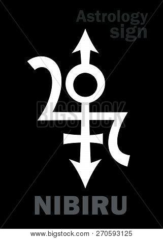 Astrology Alphabet: NIBIRU, Orphan planet, Rogue planet of Anunnaki (Aliens, the Ancient astronauts). Hieroglyphics character sign (original single symbol). poster