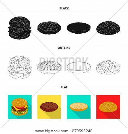 Isolated Object Of Burger And Sandwich Symbol. Collection Of Burger And Slice Stock Vector Illustrat
