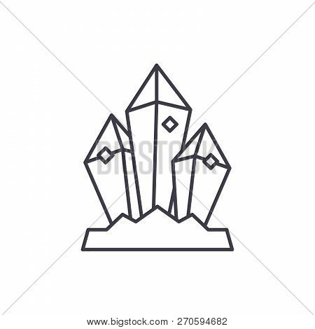 Mineral Treasure Line Icon Concept. Mineral Treasure Vector Linear Illustration, Symbol, Sign