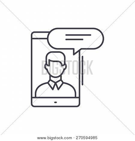 Mobile Conversation Line Icon Concept. Mobile Conversation Vector Linear Illustration, Symbol, Sign