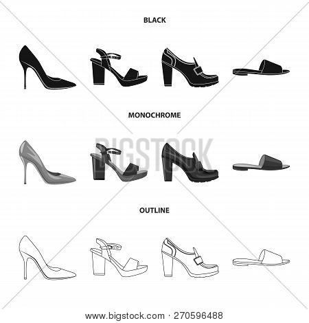 Vector Illustration Of Footwear And Woman Sign. Collection Of Footwear And Foot Stock Vector Illustr