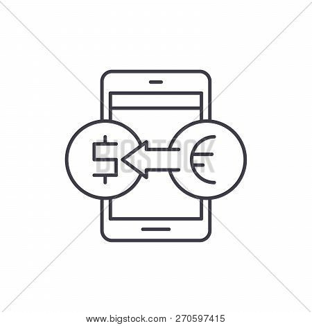 Online Currency Exchange Line Icon Concept. Online Currency Exchange Vector Linear Illustration, Sym