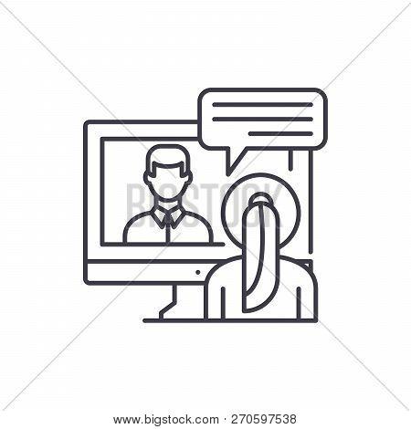 Online Negotiations Line Icon Concept. Online Negotiations Vector Linear Illustration, Symbol, Sign