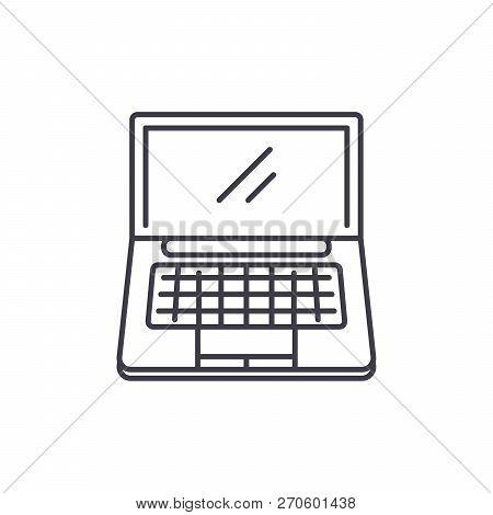 Portable Computer Line Icon Concept. Portable Computer Vector Linear Illustration, Symbol, Sign