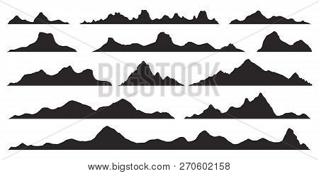 Mountains Silhouettes On The White Background. Wide Semi-detailed Panoramic Silhouettes Of Highlands