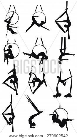 Set - Aerial Gymnastics - Twelve Female Silhouettes On The Rings And On The Hammock - Detailed - Vec