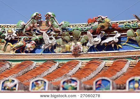 buddhism sculptures on Cheng Hoon Teng temple roof, Melaka, Malaysia