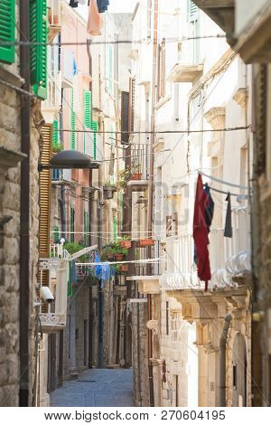 Molfetta, Apulia, Italy - Narrowness Lifestyle In The Old Alleyways Of Molfetta