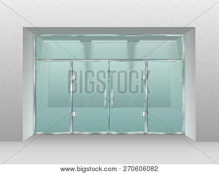 Glass Store Facade. Shopfront Window, Retail Shop Or Modern Business Office Vector Illustration
