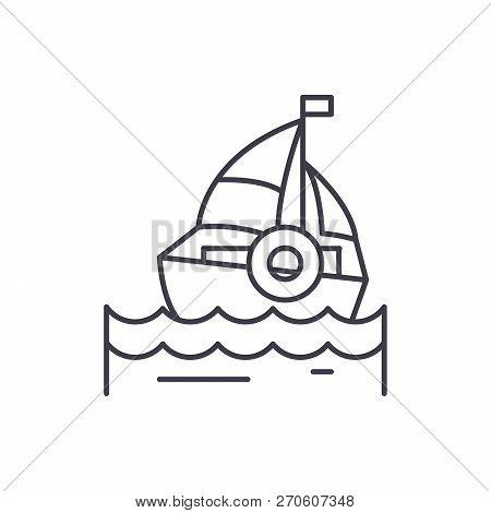 Sailing Line Icon Concept. Sailing Vector Linear Illustration, Symbol, Sign