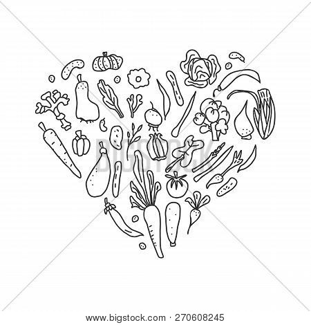 Set Of Vector Vegetables. Heart Composition Of Veg In Doodle Style Isolated On White Background.