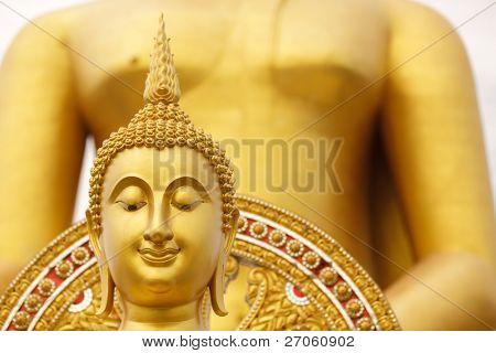 giant golden buddha head, wat muang temple, angthong, thailand