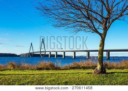 A Bridge Between Seeland Und Falster In Denmark.