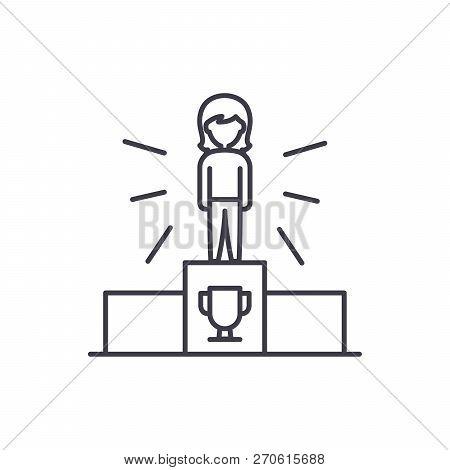 Sport Champion Line Icon Concept. Sport Champion Vector Linear Illustration, Symbol, Sign