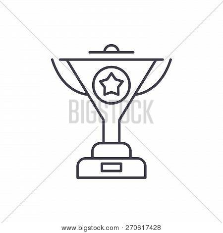 Successful Achievement Line Icon Concept. Successful Achievement Vector Linear Illustration, Symbol,