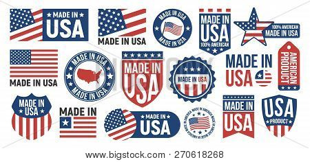 Large Set Of Made In Usa Labels, Signs. Usa Patriotic Signs. Americans Banners Templates. Vector Ill