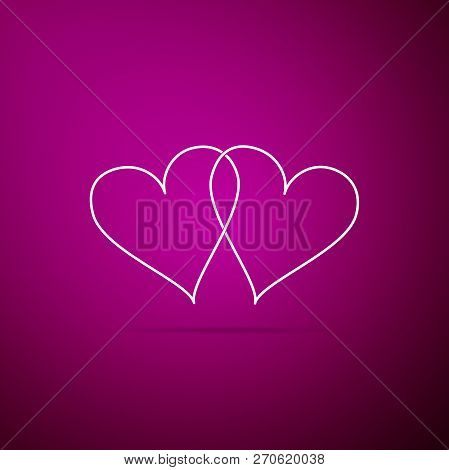 Two Linked Hearts Icon Isolated On Purple Background. Heart Two Love Sign. Romantic Symbol Linked, J