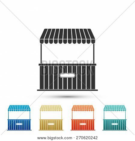 Street Stall With Awning And Wooden Rack Icon Isolated On White Background. Kiosk With Wooden Rack.