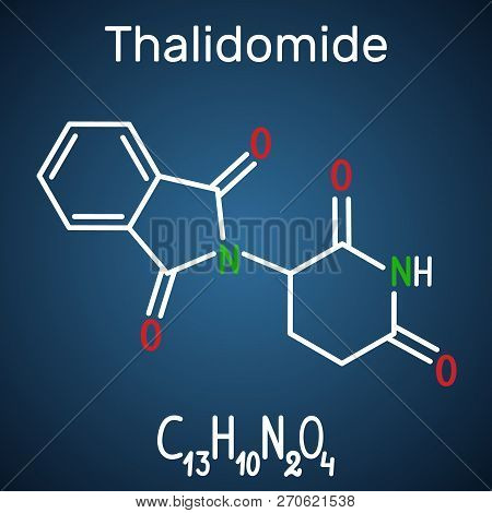 Thalidomide Molecule. Is Used As A Treatment Of Multiple Myeloma And Of Leprosy. Structural Chemical