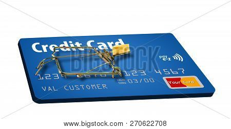 A credit card that looks like a mousetrap is seen here to illustrate the idea of credit traps, bad deals on credit cards that keep you paying. poster