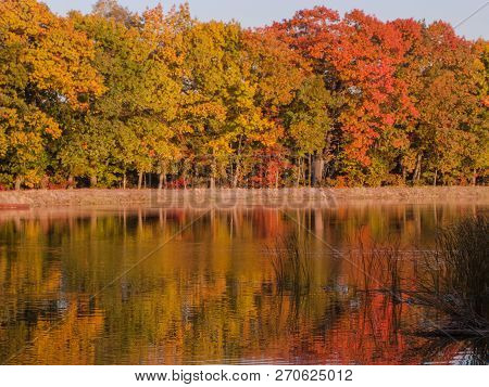 Autumn At The Lake. Water Reservoir, Reservoir. A Calm Windless Day, A Smooth Surface Of Water. Shor