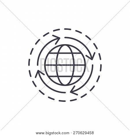 World Economy Line Icon Concept. World Economy Vector Linear Illustration, Symbol, Sign