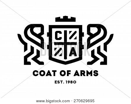 Coat Of Arms With Two Lions And A Shield. Vector Illustration.