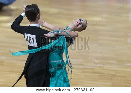 Minsk, Belarus-october 14, 2018: Dance Couple Performs Adults European Standard Program On Wdc Profe