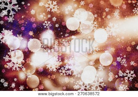 Glittering Shine Bulbs Lights Background:blur Of Christmas Wallpaper Decorations Concept.holiday Fes