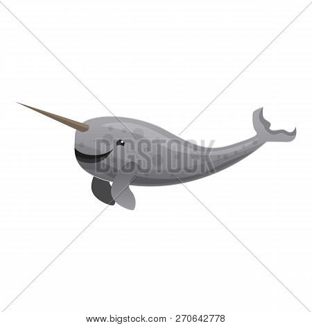 Narwhals Tusking Icon. Cartoon Of Narwhals Tusking Vector Icon For Web Design Isolated On White Back