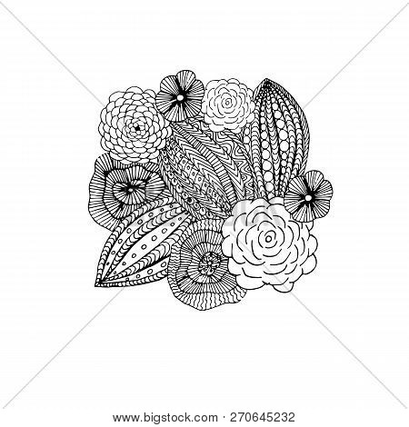 Floral Graphic Monochrome Element For Coloring Book, Antistress Page, Hand Drawn Design Element Stoc