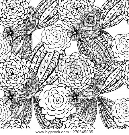 Floral Seamless Pattern For Coloring Book, Antistress Page, Hand Drawn Design Element Stock Vector I