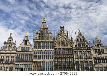 The Image Shows A Historical House Front In Antwerp