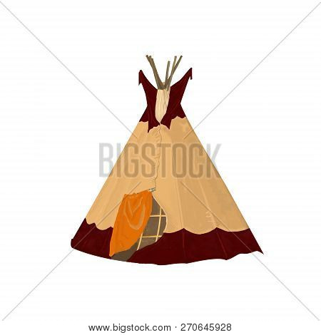 Digital art tribal teepee, isolated campsite tent. Boho vintage America traditional native ornament wigwam. Indian bohemian decoration tee-pee with arrows and feathers on white background poster